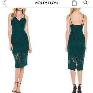 Bardot forest green midi dress